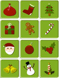 Christmas set of icons. Set of 12 Christmas icons separated on tags Stock Photo