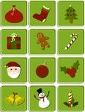 Christmas set of icons. Set of 12 Christmas icons separated on tags vector illustration