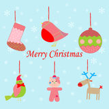 Christmas set icons. On the blue background. Vector illustration Stock Photography