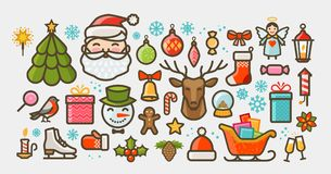 Christmas set of icons or symbols. Xmas concept. Vector illustration Royalty Free Stock Image