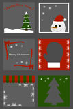 Christmas set icons - tree, snowman, mitten. Vector cartoon illustration of gift wrapping. Vector Stock Image