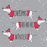Christmas set illustration with funny dogs. Hand drawn vector po. Ppy with red sweater and hat. Happy New Year collection. Winter design. Happy holidays template stock illustration