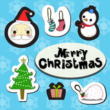Christmas set. Inculde santa , sock, snowman, tree and gift Stock Images
