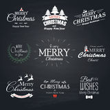 Christmas set labels, emblems and decorative elements - Chalkboa Royalty Free Stock Images