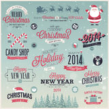 Christmas set - labels, emblems and other decorati Stock Images