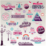 Christmas set. Labels, emblems and other decorative elements Stock Photography