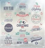 Christmas set. Labels, emblems and other decorative elements Stock Photos