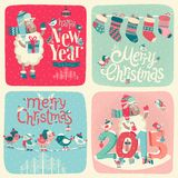 Christmas set. Labels, emblems and other decorative elements Royalty Free Stock Photography