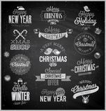 Christmas set - labels, emblems and other decorative elements. Chalkboard Royalty Free Stock Photo