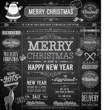 Christmas set - labels. Emblems and other decorative elements - Chalkboard Stock Photography