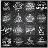 Christmas set. Labels, emblems and other decorative elements - Chalkboard Stock Image