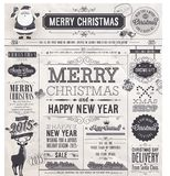 Christmas set - labels, emblems and other decorative elements. Newspaper stile Stock Photo