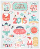 Christmas set - labels, emblems and other decorative elements. Stock Image