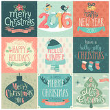 Christmas set - labels, emblems and other decorative elements. Stock Photography