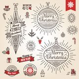 Christmas set. Labels, emblems and other decorative elements in vintage style. Stock Images