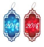 Christmas set labels isolated on white background Stock Photo