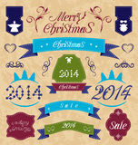 Christmas set - labels, ribbons and other decorati Royalty Free Stock Photo