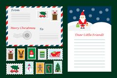 Christmas set of letter from Santa Claus, envelope and postage stamps for children, fun preschool activity for kids, vector. Christmas set of letter from Santa vector illustration