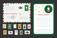 Christmas set of letter to Santa Claus, envelope and postage stamps for children, fun preschool activity for kids, vector. Christmas set of letter to Santa Claus stock illustration