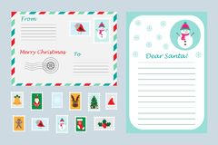 Christmas set of letter to Santa Claus, envelope and postage stamps for children, xmas fun preschool activity for kids, vector royalty free illustration