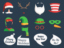 Christmas set mask and speech bubbles stock illustration
