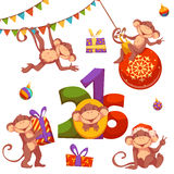 Christmas set with monkey for 2016 New Year.  vector illustration