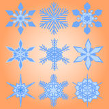 Christmas set of nine snowflakes Stock Image