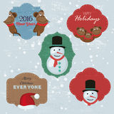 Christmas Set with Notes, Stickers, Labels with winter and christmas Illustrations and Wishes.  Royalty Free Stock Photo