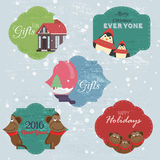Christmas Set with Notes, Stickers, Labels with winter and christmas Illustrations and Wishes. Template for Planner, Greeting Scra Stock Image