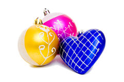 Christmas Set Of Two Balls And Heart Royalty Free Stock Photos