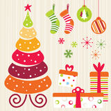Christmas Set - Orange. New Year's decorations in different colors and designs set Royalty Free Stock Photography