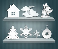Christmas set of paper decorations Royalty Free Stock Photos