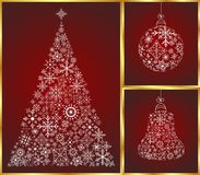 Christmas set pine, ball and bell Royalty Free Stock Photography