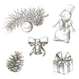 Christmas set. Pinecone, bell, toy, snowman, gift, bow. Hand drawn Royalty Free Stock Photography