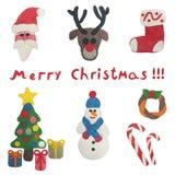 Christmas set of plasticine figures Stock Images