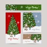 Christmas set for print cards Stock Photo