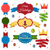 Christmas set of ribbons, emblems and elements Stock Image