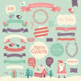 Christmas set. Ribbons and other decorative elements Stock Photo