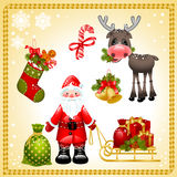 Christmas set. Santa Claus. Vector illustration - set of christmas icons. Santa claus with gifts and collection of isolated objects of Christmas ornaments and Royalty Free Illustration