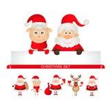 Christmas set santa claus, Christmas reindeer, Stock Photo