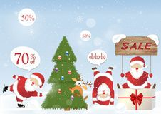 Christmas set - Santa Claus. Emblems and other decorative elements. Vector illustration Royalty Free Stock Photos