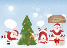 Christmas set - Santa Claus. Emblems and other decorative elements. Vector illustration Stock Image