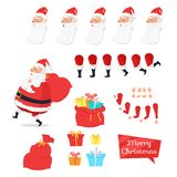 Christmas Set of Santa Claus Part Create Character. Merry Christmas set of Santa Claus parts create your own character. Man with present has various emotions on Royalty Free Stock Photo