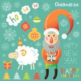 Christmas set with Santa Claus and sheep Stock Images