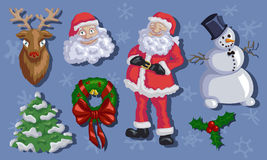 Christmas set with Santa, Rudolf, snowmen, fir-tree and mistleto Royalty Free Stock Photos