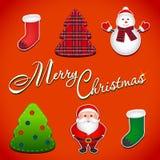 Christmas set  Santa tree snowman boots, vector. Illustration Stock Images
