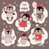 Christmas set with six cute penguins and snowflakes royalty free illustration
