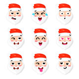 Christmas Set - six emotion faces of santa. Vector cartoon illustration.   Stock Photography