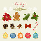 Christmas set with snowflakes, balls, candy, bow, gingerbread man, fir cones, red berries. Vector illustration. New year Stock Image