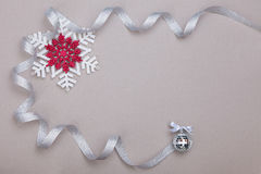 Christmas set with snowflakes and silver ribbon Royalty Free Stock Photo